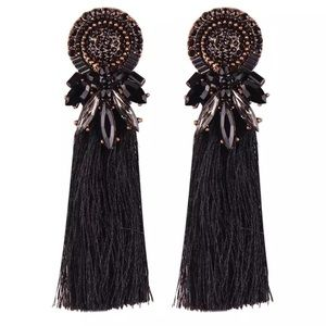 Jewelry - Elegant Black Tassel Earrings